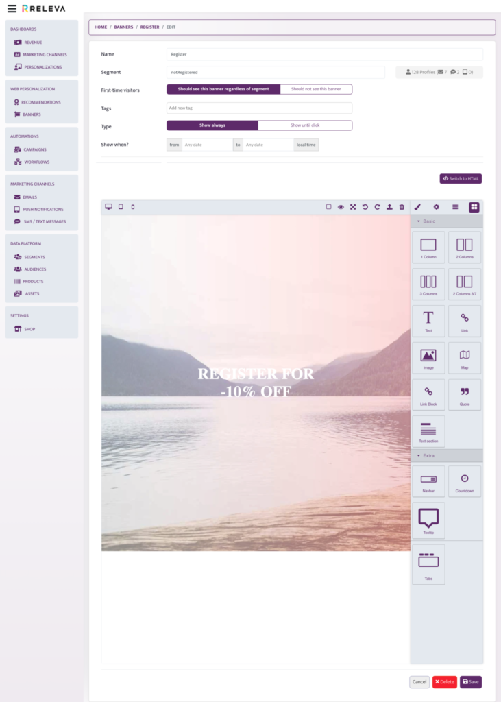 Releva Banners: New banner creation visual builder view