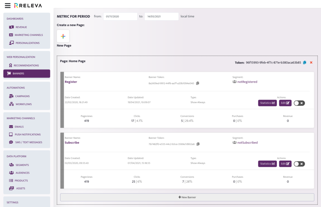 Releva Banners: Overview and statistics view