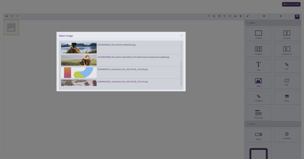 Releva Assets toolkit: email HTML builder view with assets search